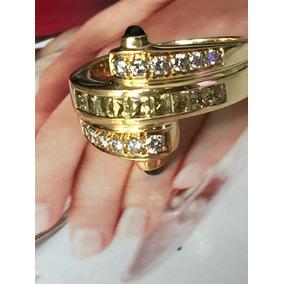 Anel Forrado De Ouro Com Diamantes Brancos E Cánario
