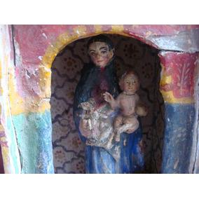 Antiguo Retablo Madera Virgen Maria Niño Dios Arte Criollo