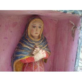Antiguo Retablo Virgen Maria Arte Popular Criollo. Santa