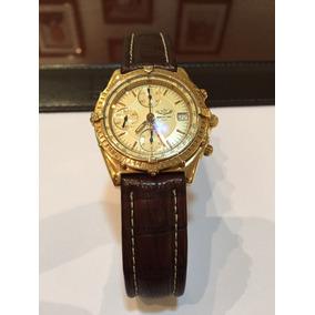 Breitling Chronomat Em Ouro Amarelo 40mm , Couro , Top !!