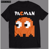 Camiseta Pac Man Fantasma Masculina Camisa