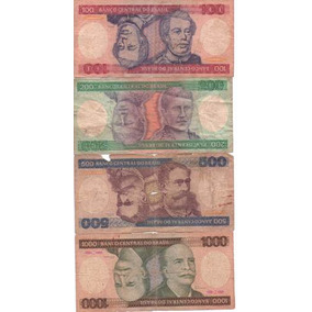Quatro Cédulas De 100, 200, 500 E 1000 Cruzeiros
