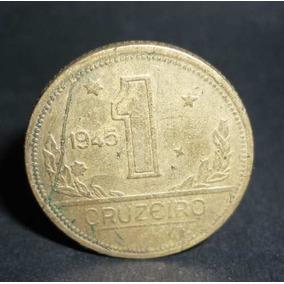 1 Crz. 1945 Defeito De Cunho Filete Ou Sobra De Metal .