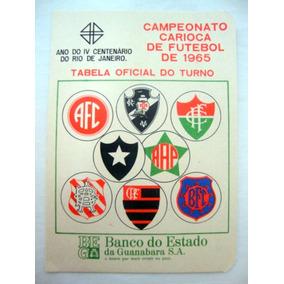 Cartela Oficial Do Campeonato Carioca De Futebol - 1965