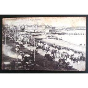 Cartão Postal Antigo Montevidéu Rambla Pocitos