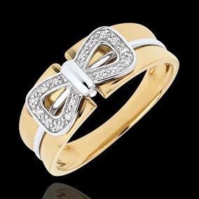 Anel De Ouro 18k + Laço Bicolor + Diamantes An102vj