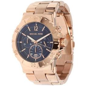 84a4d71d44bbc Relógio Michael Kors Mk 5410 Rose Com Fundo Azul Marinho - Relógios ...