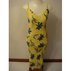 Rouparia Lindo Vestido Em Crepe Forrado Amarelo Tam. P