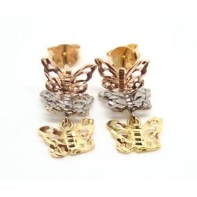 Brincos Borboletas 3 Tons Ouro 18k
