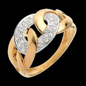 Anel Elos De Ouro 18k/750 + 24 Diamantes Naturais An27vivar