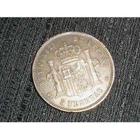 Espanha 1884 Moeda Antiga 5 Pesetas Rei Alfonso Xii