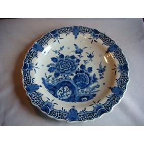Prato Em Porcelana Antiga Holandesa Delff Antiguidade 2212
