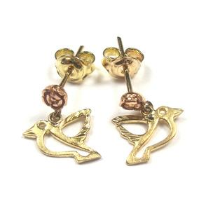 Brincos Flor E Beija-flor Em Ouro 18k Ouro Rosê Filigrana