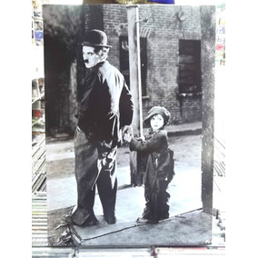 Quadro Poster Madeira Charlie Chaplin O Garoto Pronta Entreg