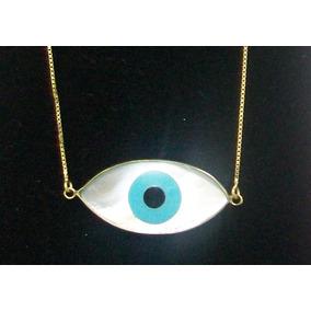 Colar Olho Grego Madre Perola Ouro 18k Tipo Olho De Horus - Joias e ... 19bf329513