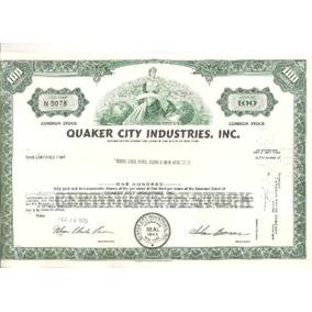 Apolice - Quaker City Industries, Inc. Feb 1970 Nº 9078