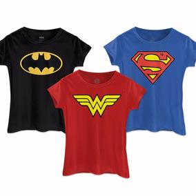 Kit 3 Camisetas Batman Wonder Woman Superman Femininas