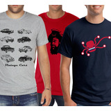 Pack Oferta X3 Remeras Estampadas (autos, Pirata, Octopus)