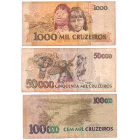 Três Cédulas De 1000, 50000 E 100000 Cruzeiros