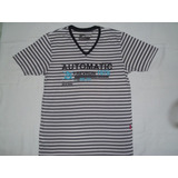 Camisa Automatic Listrada Cinza Branco Gola V Pool M