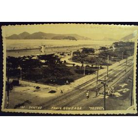 Cartão Postal Antigo Santos Praia Gonzaga