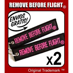 2 Llaveros Remove Before Flight ® Black & Pink Combo