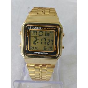 Relógio Dourado Feminino Digital Atlantis Original.