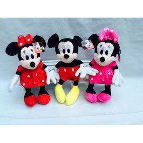 Kit C/ 02 Bonecos De Pelúcia Mickey E Minnie 28 Cm