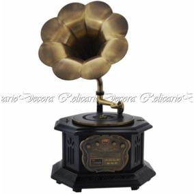 Gramophone Charmoso E Retrô Com Vinil, Am/fm, Cd, Mp3, Usb