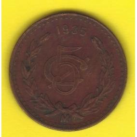 5 Centavos 1935 México Moneda Presidente Lázaro Cárdenas Vbf