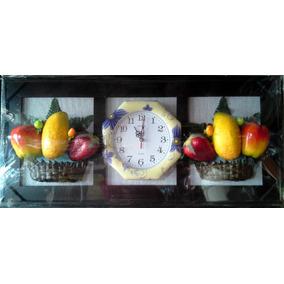 Reloj De Pared Artesanal Decorado Frutas Y Flores, Especiero