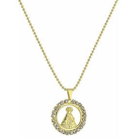 Gargantilha Folheada A Ouro C/ Medalha De N. Sra. Aparecida