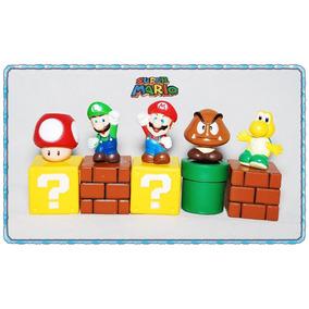 Kit Miniaturas Boneco Super Mario Bros 5 Peças
