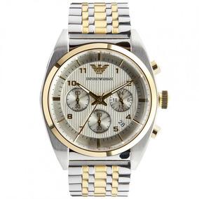 ec0e889a119 Relógio Luxo Empório Armani Ar0396 Orig Chron Anal Silver!