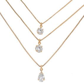 4196de1df44f1 Colar Cordão Corrente Triplo Pontos De Luz Cristal Semi Joia