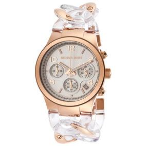 ff6a19d2a3f23 Relogio Michael Kors Mk5394 Transparente Dourado Rosê - Relógios De ...