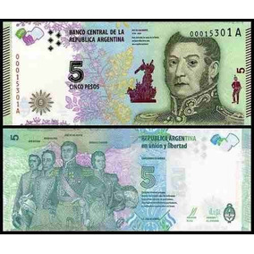 Argentina Cedula 5 Pesos 2016 San Martin Seria A