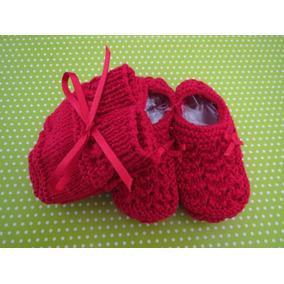 Sapatinhos De Tricô + Luvas (linha) Para Bebê (vermelho) a14a222f475