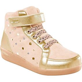Tênis Sneaker Dourado Nobuck Fivela Lateral Pampili