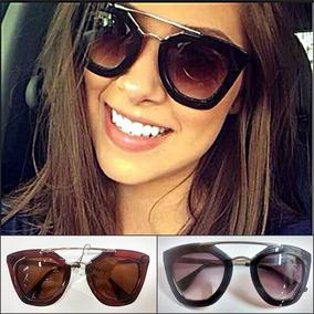 Óculos De Sol Retro Vintage Gatinho Geométric Preto + Brinde 13b60642fb