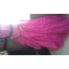 Gran Venta De Vestido Hermoso Color Fucsia Con Negro C/ramo