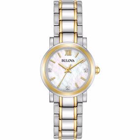 Relógio Bulova 98p165 Original Visor Madrepérola 3 Diamantes