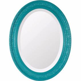 Espelho Oval Bisotê | Retrô Azul Grande