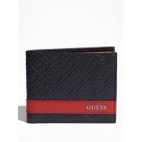 Billetera Marca Guess Para Caballero Negra Con Rojo