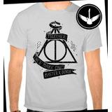 Camiseta Harry Potter Relíquias Da Morte Blusa Camisa Cinza