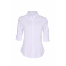 2fcdae6eee Camisete Camisa Feminino Social Branco Manga 3 4 Promoção