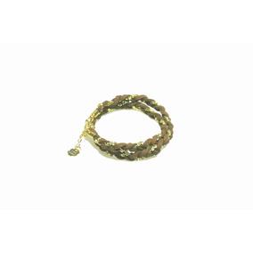 Pulseira De Camurça Com Corrente Dourada 3871 Carol Gregori