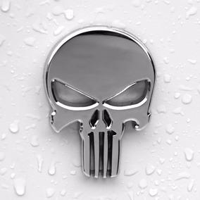 Justiceiro Adesivo 3d Moto Punisher Emblema Metal Cromado