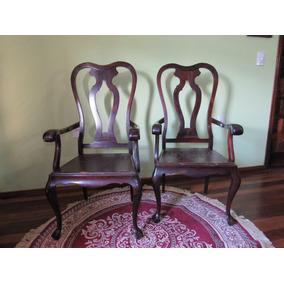Mesa C/ 8 Cadeiras/couro Jacarandá Maciça Estilo Queen Anne