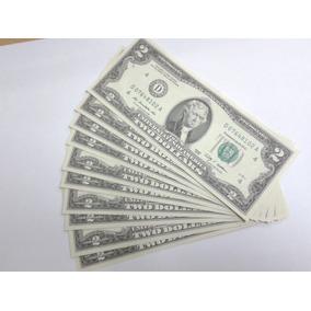 Lote Com 10 Cedulas Fe De 2 Dollares Letra D Sequenciadas